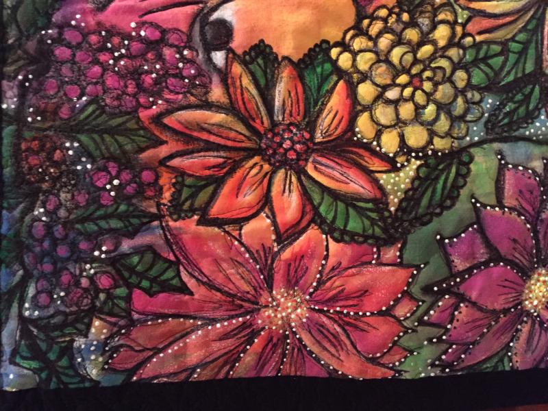Artquilt bloom side close